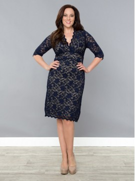 Kiyonna Scalloped Lace Dress in Navy